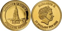 World Coins - Coin, Fiji, Elizabeth II, Strokkur Geyser - Islande, 10 Dollars, 2011