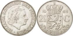 World Coins - Netherlands, Juliana, 2-1/2 Gulden, 1963, AU(55-58), Silver