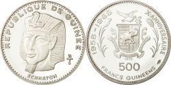 World Coins - Coin, Guinea, 500 Francs, Echnaton, 1970, MS(63), Silver, KM 22