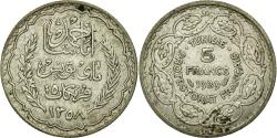 World Coins - Coin, Tunisia, Ahmad Pasha Bey, 5 Francs, 1939, Paris, EF(40-45), Silver, KM:264