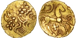 Suessiones, 1/4 Stater, Ist century BC, , Gold, Delestré:329