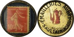 World Coins - Coin, France, Emailleries Aubry, Saultain, 10 Centimes, Timbre-Monnaie