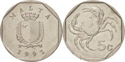 World Coins - Malta, 5 Cents, 1991, , Copper-nickel, KM:95