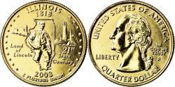 Us Coins - Coin, United States, Illinois, Quarter, 2003, U.S. Mint, Philadelphia, golden