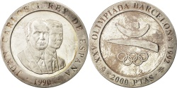World Coins - SPAIN, 2000 Pesetas, 1990, KM #859, , Silver, 27.10
