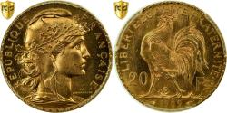 World Coins - Coin, France, Marianne, 20 Francs, 1909, PCGS, MS65, Gold, KM:857, graded