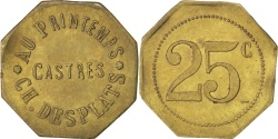 World Coins - France, 25 Centimes, , Brass, Elie #20.3, 3.83