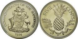 World Coins - Coin, Bahamas, Elizabeth II, 5 Cents, 1974, Franklin Mint,  U S A , MS(65-70)