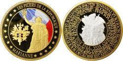 Us Coins - France, Medal, Les piliers de la République, Marianne, MS(65-70), Copper Gilt