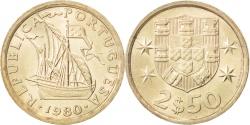 World Coins - PORTUGAL, 2-1/2 Escudos, 1980, KM #590, , Copper-Nickel, 20, 3.60