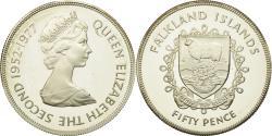 World Coins - Coin, Falkland Islands, Elizabeth II, 50 Pence, 1977, , Silver, KM:10a