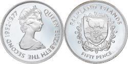 World Coins - Coin, Falkland Islands, Elizabeth II, 50 Pence, 1977, Proof, , Silver