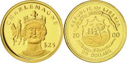 World Coins - Liberia, 25 Dollars, Charlemagne, 2000, American Mint, MS(65-70), Gold, KM:628