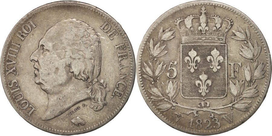 World Coins - France, Louis XVIII, 5 Francs, 1823, Lille, , Silver, KM 711.13