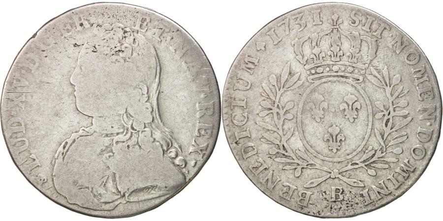 World Coins - France, Louis XV, 1/2 Écu aux branches d'olivier, 44 Sols, 1731, Rouen,KM484.3
