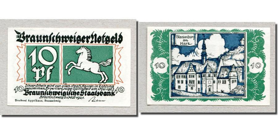 World Coins - Banknote, Germany, Braunschweig, 10 Pfennig, Batiment, 1921, 1921-05-01