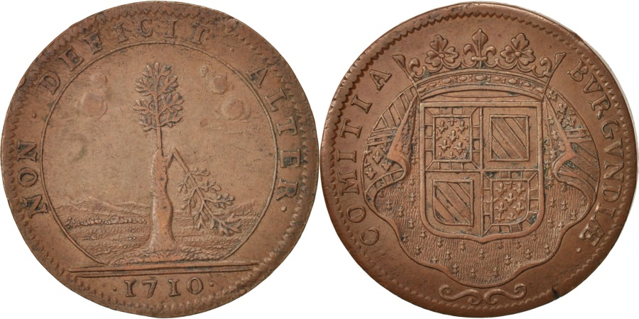 World Coins - France, Token, Etats de Bourgogne, 1710, , Copper, Feuardent:9830.