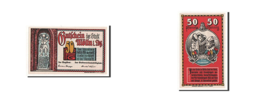 World Coins - Germany, Mölln, 50 Pfennig, personnage, Undated, UNC(65-70), Mehl:894
