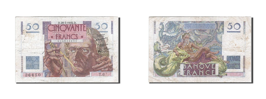 World Coins - France, 50 Francs, 1946, KM:127a, 1946-03-28, EF(40-45), Fayette:20.2
