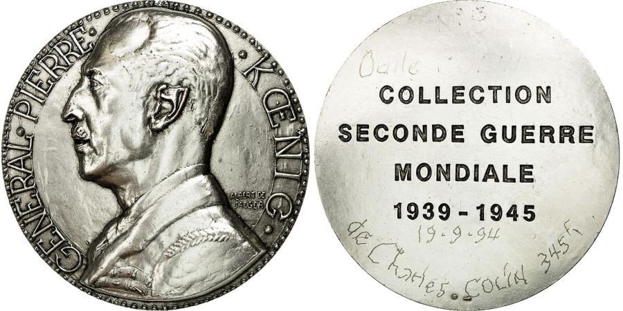World Coins - France, Medal, Seconde Guerre Mondiale, Général Koenig, De Jaeger,