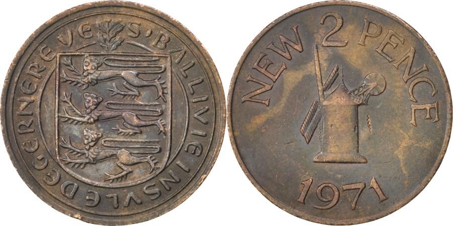 World Coins - GUERNSEY, 2 New Pence, 1971, KM #22, , Bronze, 25.91, 7.05