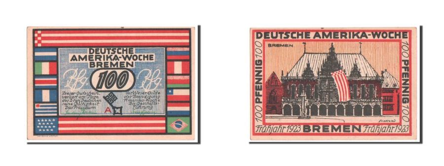World Coins - Germany, Bremen Deutsche Amerika Woche, 100 Pfennig, 1923, UNC(63), A, Mehl...