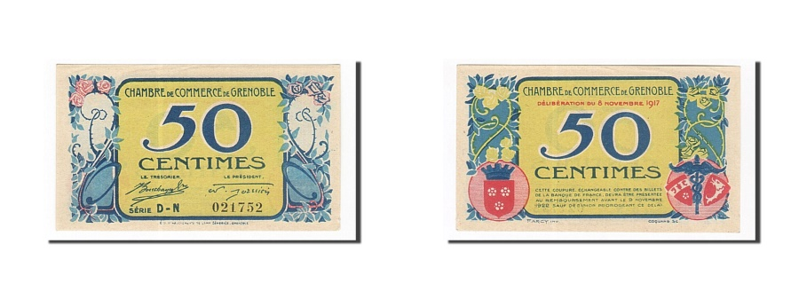 World Coins - France, Grenoble, 50 Centimes, 1917, UNC(60-62), Pirot:63-13