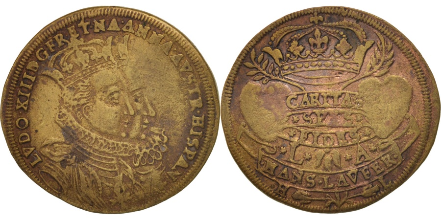 World Coins - France, Token, Royal, Louis XIII and Anne d'Autriche wedding, 1615,
