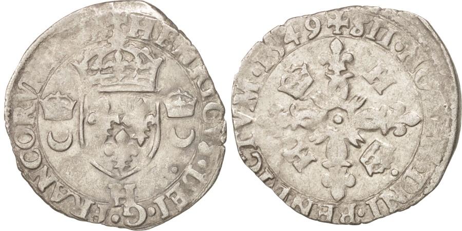 World Coins - France, Douzain aux croissants, 1549, La Rochelle, , Billon