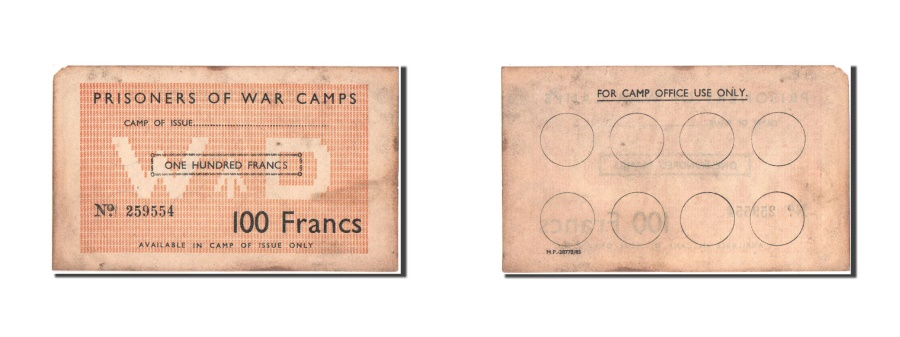 World Coins - Great Britain, Prisoners of War Camps in France, 100 Francs, 1940-1944