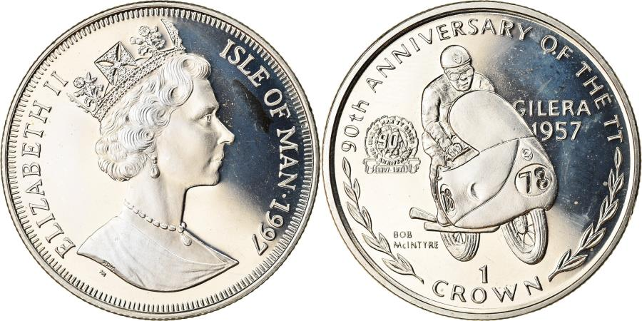 World Coins - Coin, Isle of Man, Elizabeth II, Crown, 1997, Pobjoy Mint, Turist Trophy - Bob
