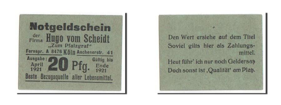 World Coins - Germany, Koln, 20 Pfennig, 1921, 1921-04-01, UNC(63), Mehl #716.1b