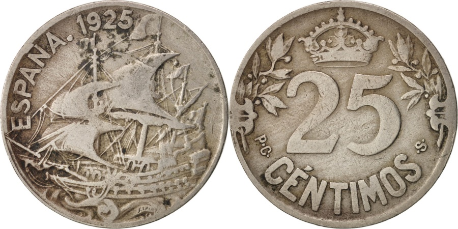 World Coins - Spain, Alfonso XIII, 25 Centimos, 1925, Madrid, , Copper-nickel, KM:740