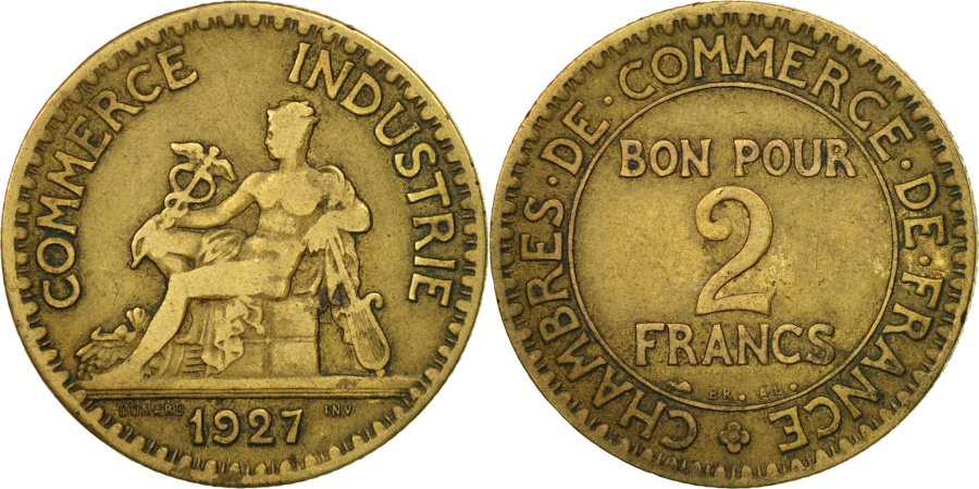 France chambre de commerce 2 francs 1927 paris vf 20 for Chambre de commerce de france