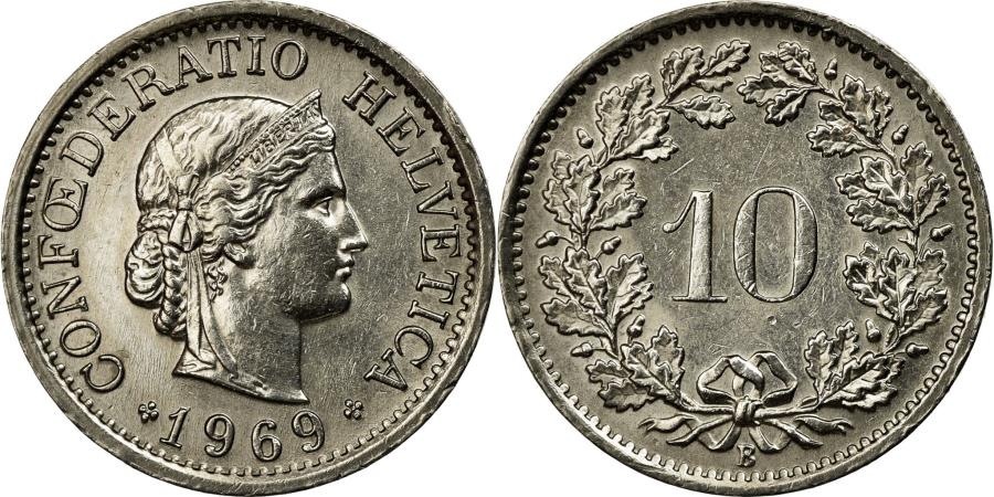 World Coins - Coin, Switzerland, 10 Rappen, 1969, Bern, EF(40-45), Copper-nickel, KM:27