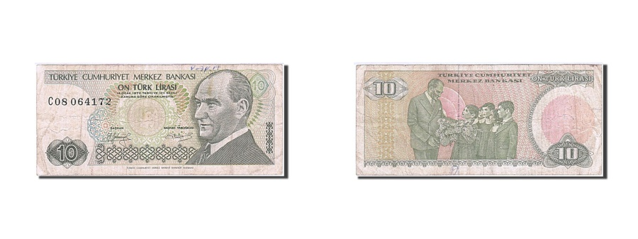 World Coins - Turkey, 10 Lira, 1984-1997, 1979, KM:192, VF(20-25)