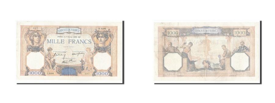 World Coins - FRANCE, 1000 Francs, 1939, KM:90c, 1939-02-02, AU(50-53), E.6096, Fayette:38.34