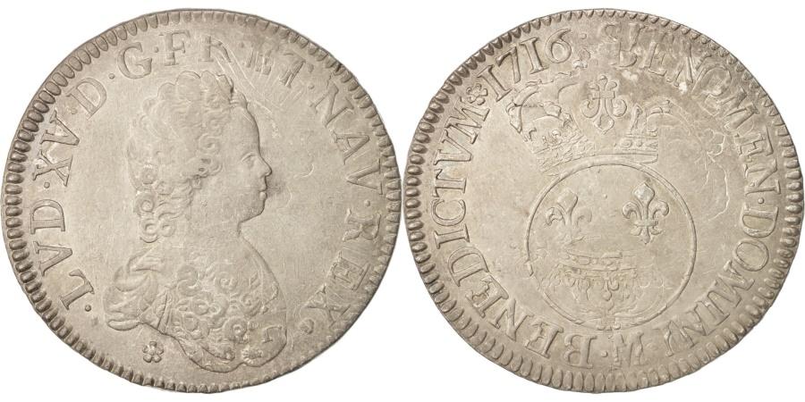 World Coins - France, Louis XV, Écu Vertugadin, 1716, Toulouse, , Silver, KM:414.13