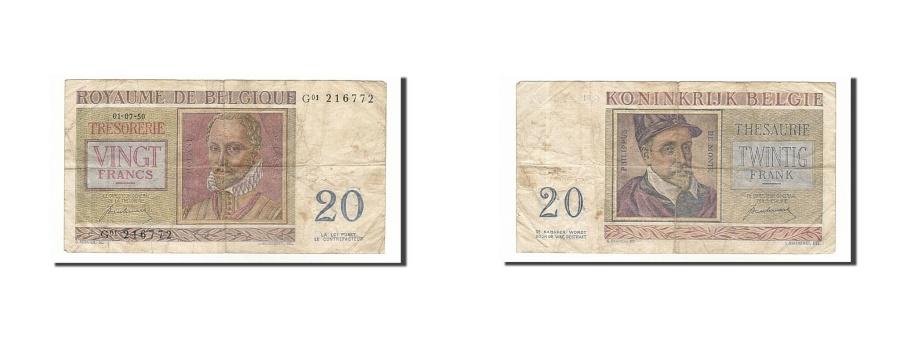 World Coins - Belgium, 20 Francs, 1950, KM #132a, 1950-07-01, VF(20-25), G01