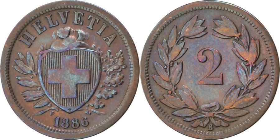 World Coins - SWITZERLAND, 2 Rappen, 1886, Bern, KM #4.1, , Bronze, 20, 2.39