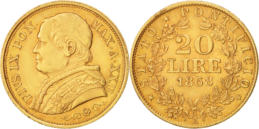 World Coins - ITALIAN STATES, PAPAL STATES, Pius IX, 20 Lire, 1868, Roma, , Gold