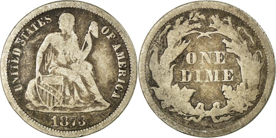 US Coins - Coin, United States, Seated Liberty Dime, Dime, 1873, U.S. Mint, Philadelphia