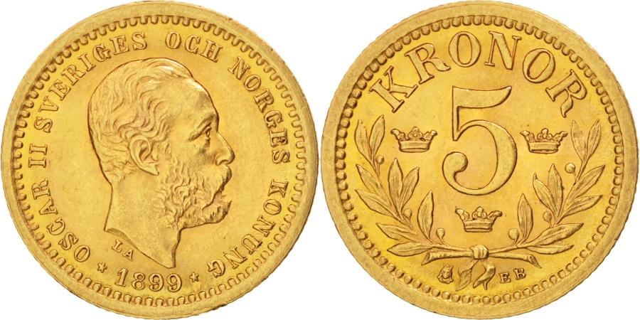 World Coins - Sweden, Oscar II, 5 Kronor, 1899, Stockholm, Gold, KM:756