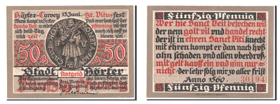 World Coins - Germany, Hoxter Stadt, 50 Pfennig, 1921, UNC(65-70), Mehl #618.2