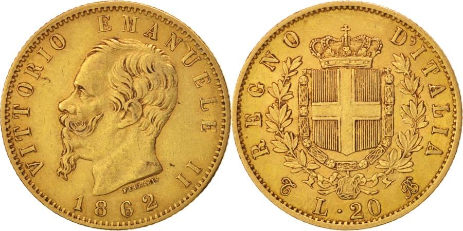 Italy vittorio emanuele ii 20 lire 1862 torino au 50 for Coin torino