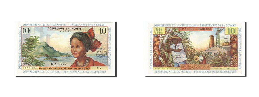 World Coins - French Antilles, 10 Francs, 1964, KM #8b, UNC(63), Y.7