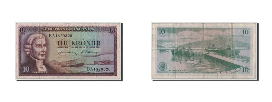 World Coins - Iceland, 10 Kronur, 1961, 1961-03-29, KM:42, VF(20-25)