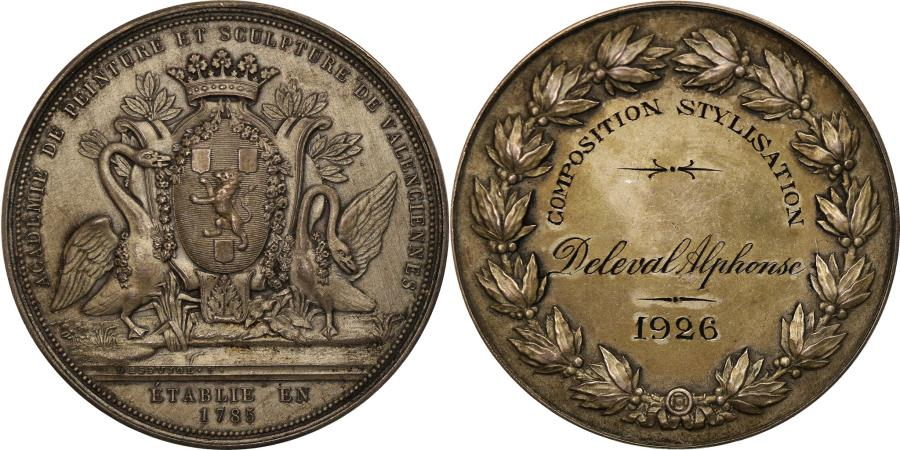 World Coins - France, Medal, French Third Republic, Arts & Culture, 1926, AU(55-58), Silver