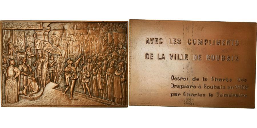 World Coins - France, Medal, Octroi de la Charte des Drapiers à Roubaix, 1985, David,