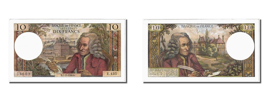 World Coins - France, 10 Francs, 10 F 1963-1973 ''Voltaire'', 1968, KM #147c, 1968-11-07,...